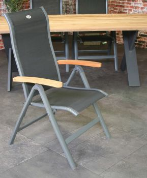Chaise de jardin Turin - noir/teck