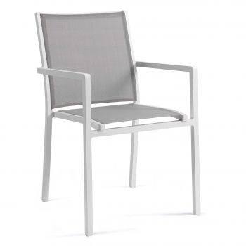 Chaise de jardin Arianne - blanc/gris clair