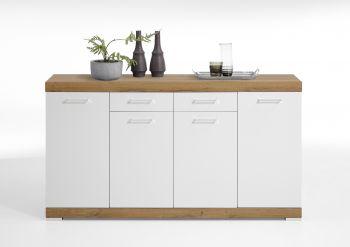 Commode Cristal 4 portes et 2 tiroirs 160x90x35 - chêne vieilli/blanc brillant