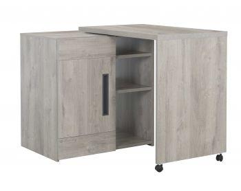 Meuble de bar Bosy 160x60 avec rangements - chêne gris clair