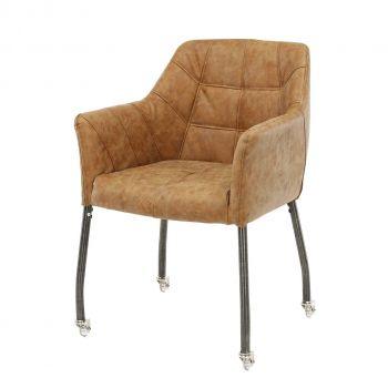 Lot de 2 chaises à accoudoirs Dorian sur roulettes - brun