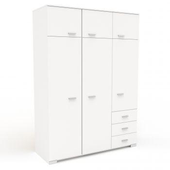 Garde-robe Gemma 146cm avec 6 portes - blanc