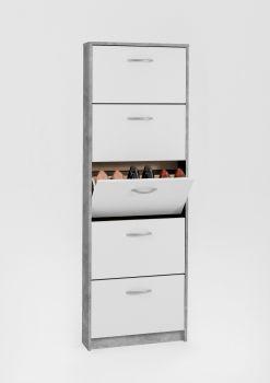 Armoire à chaussures Step à 5 tiroirs - béton/blanc