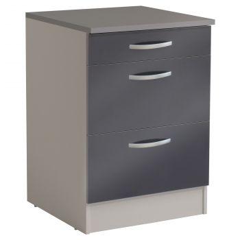 Meuble bas Spott 60 cm avec 3 tiroirs - glossy grey