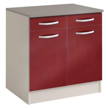 Meuble bas Spott 60 cm avec 2 tiroirs et 2 portes - glossy red