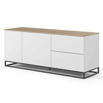 Bahut Join 160cm avec piètement en métal, 2 portes et 2 tiroirs - blanc mat/chêne