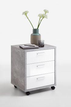 Caisson à tiroirs Brick - béton/blanc brillant