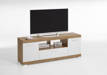Meuble tv Cristal 160cm - chêne vieilli/blanc brillant