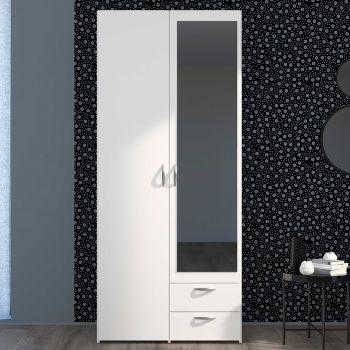 Armoire de rangement Salvador miroir, 2 portes & 2 tiroirs - blanc
