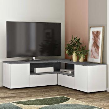 Meuble TV Cleo - blanc/béton