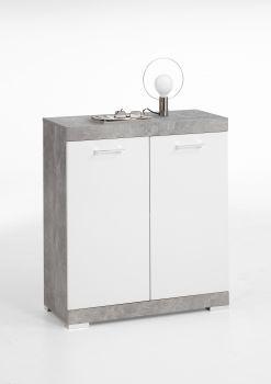 Commode Cristal 2 portes 80x90x35 - béton/blanc brillant