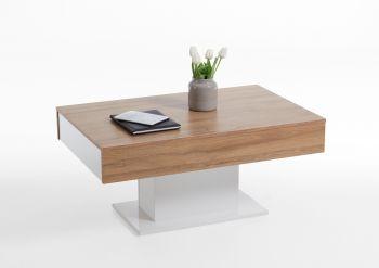 Table basse Lola 2 tiroirs - chêne vieilli/blanc brillant