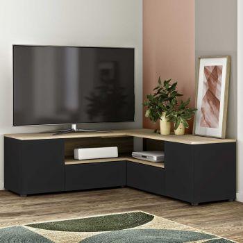 Meuble TV Cleo - noir/chêne