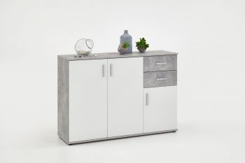 Commode Albi 3 portes & 2 tiroirs - béton/blanc