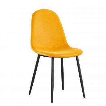 Lot de 4 chaises en velours Valeska - jaune