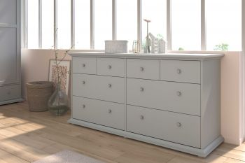 Commode Morgane 8 tiroirs - gris