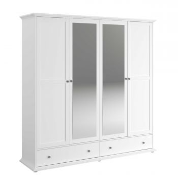 Armoire Morgane 4 portes - blanc
