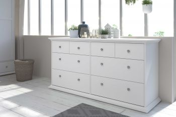 Commode Morgane 8 tiroirs - blanc