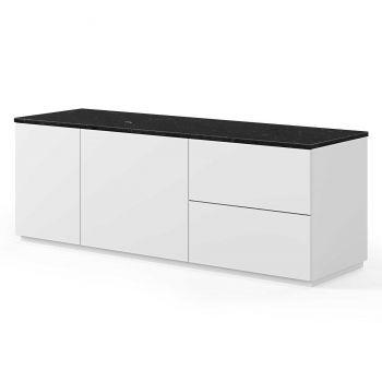 Bahut Join 160cm à 2 portes et 2 tiroirs - blanc mat/marbre noir