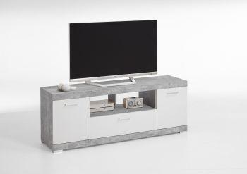 Meuble tv Cristal 160cm - décor/blanc brillant