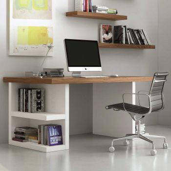 Bureau Multis 160cm - blanc/noyer