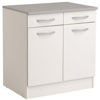 Meuble bas Spott 60 cm avec 2 tiroirs et 2 portes - blanc