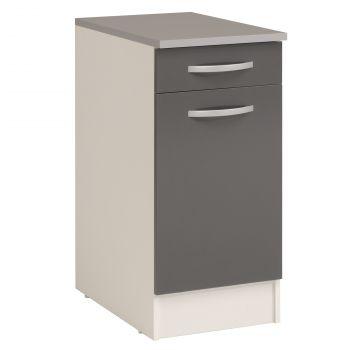 Meuble bas Oke 40x60 cm avec tiroir et porte - gris
