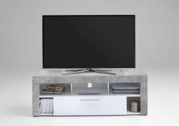 Meuble TV Vidi 150 cm - béton/blanc