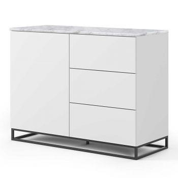 Bahut Join 120cm avec piètement en métal, 1 porte et 3 tiroirs - blanc mat/marbre blanc