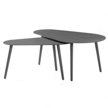 Jeu de 2 tables basses pour extérieur Equator/Gabon - anthracite