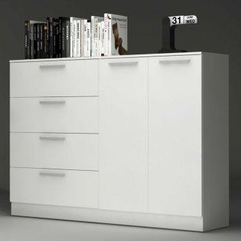 Commode Ramos 4 tiroirs & 2 portes - blanc