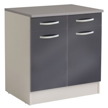 Meuble bas Spott 60 cm avec 2 tiroirs et 2 portes - glossy grey