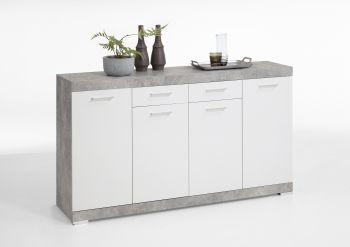 Commode Cristal 4 portes et 2 tiroirs 160x90x35 - béton/blanc brillant