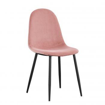 Lot de 4 chaises en velours Valeska - rose