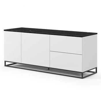Bahut Join 160cm avec piètement en métal, 2 portes et 2 tiroirs - blanc mat/marbre noir