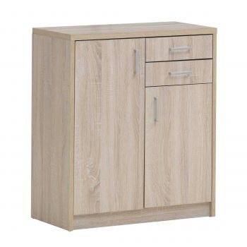 Commode Spacio 2 portes & 2 tiroirs H 84cm - chêne sonoma