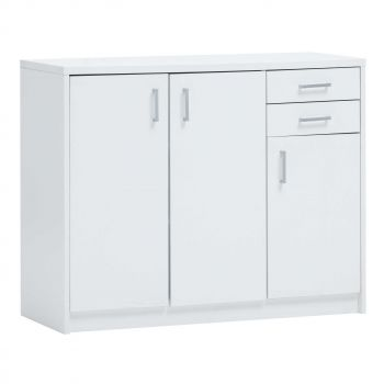 Commode Spacio 3 portes & 2 tiroirs H 84cm - blanc