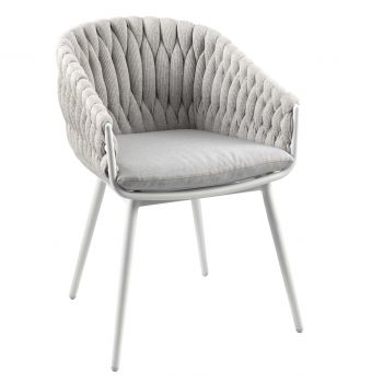 Chaise de jardin Gabon - blanc/gris clair