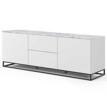 Bahut Join 180cm avec piètement en métal, 2 portes et 2 tiroirs - blanc mat/marbre blanc