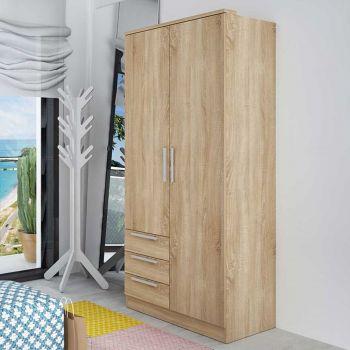 Armoire Ramos 2 portes & 3 tiroirs - chêne
