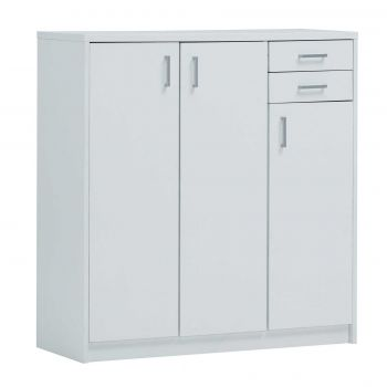 Commode Spacio 3 portes & 2 tiroirs H 110cm - blanc