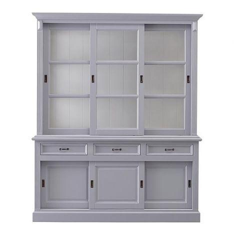Vaisselier Provence 180cm à 6 portes & 3 tiroirs - gris/blanc