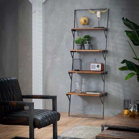 Etagère échelle Anais en bois dur - brun/noir