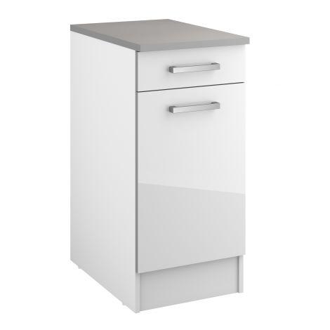 Meuble bas Eli 40 cm avec tiroir et porte - blanc