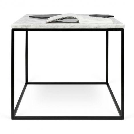 Table d'appoint Gleam 50x50 - marbre blanc/acier