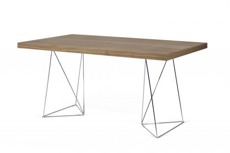Table Multis - noyer/pieds chromés