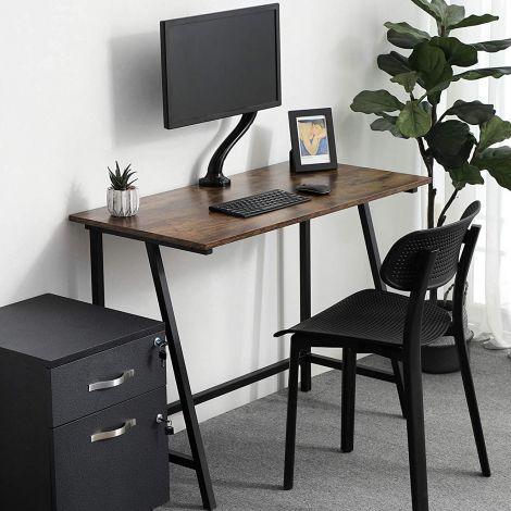 Table de bureau Oliver 100cm - brun rustique/noir