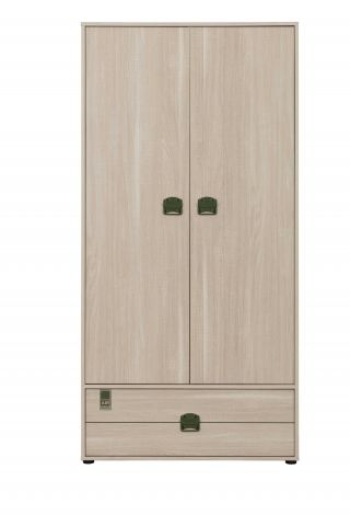 Armoire Jones 94cm avec 2 portes & 1 tiroir - chêne clair