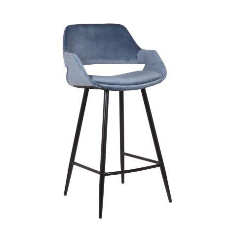 Lot de 2 chaises de bar Erika - hauteur d'assise 65 cm - bleu