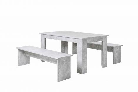 Table et bancs Munich 140cm - béton
